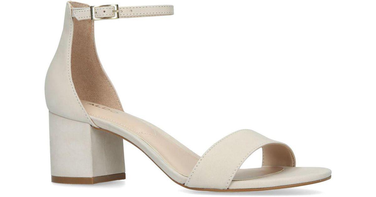 587d045f6ae ALDO Cream  villarosa  Leather Block Heel Sandals in Natural - Lyst