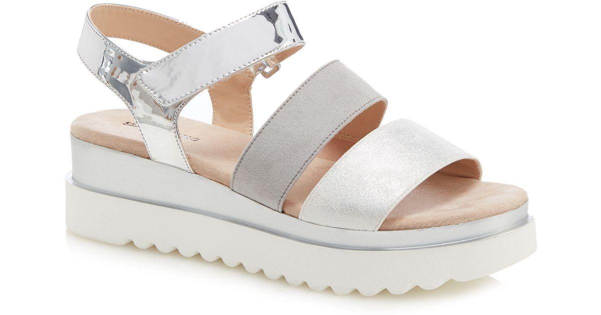 d55618cbaeb Call It Spring Silver  yboreni  Mid Flatform Heel Ankle Strap Sandals in  Metallic - Lyst