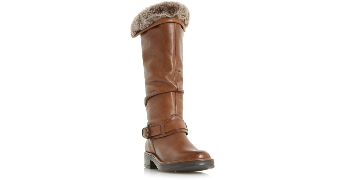 ad21509d20a Dune Tan  torie  Ruched Flat Knee High Boots in Brown - Lyst