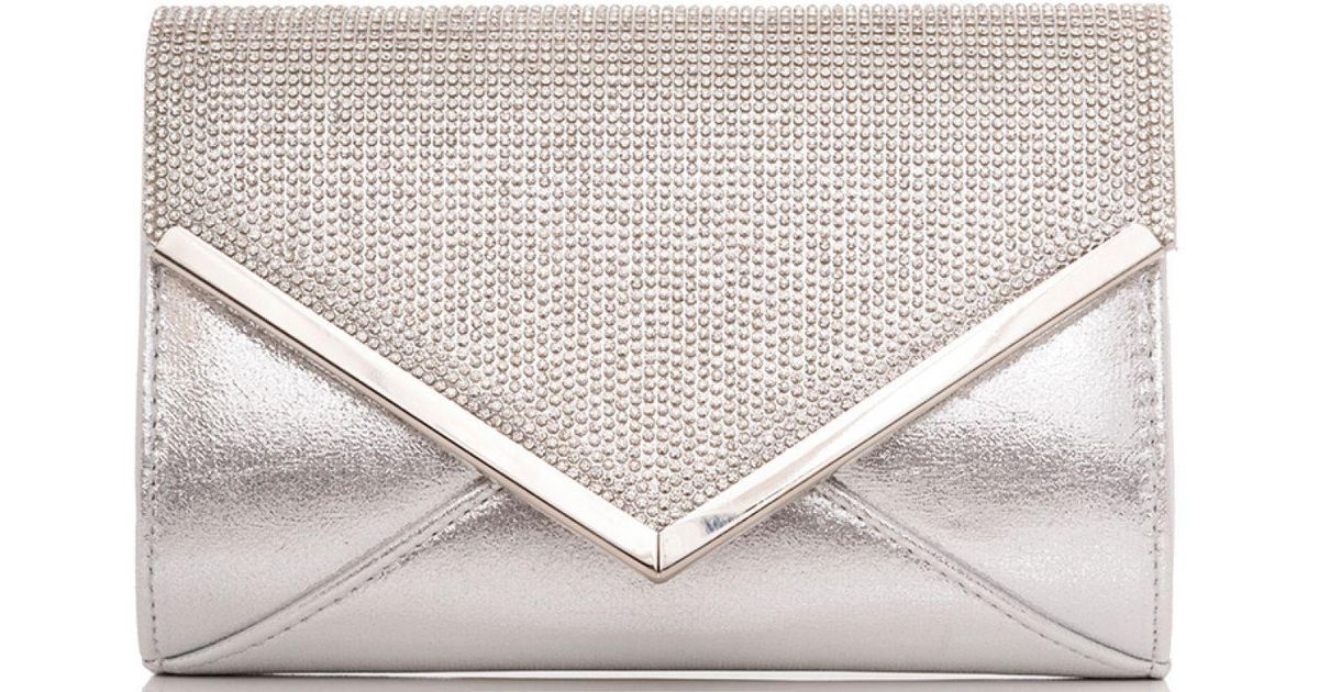 18da24a6e Quiz Silver Diamante And Shimmer Clutch Bag in Metallic - Lyst