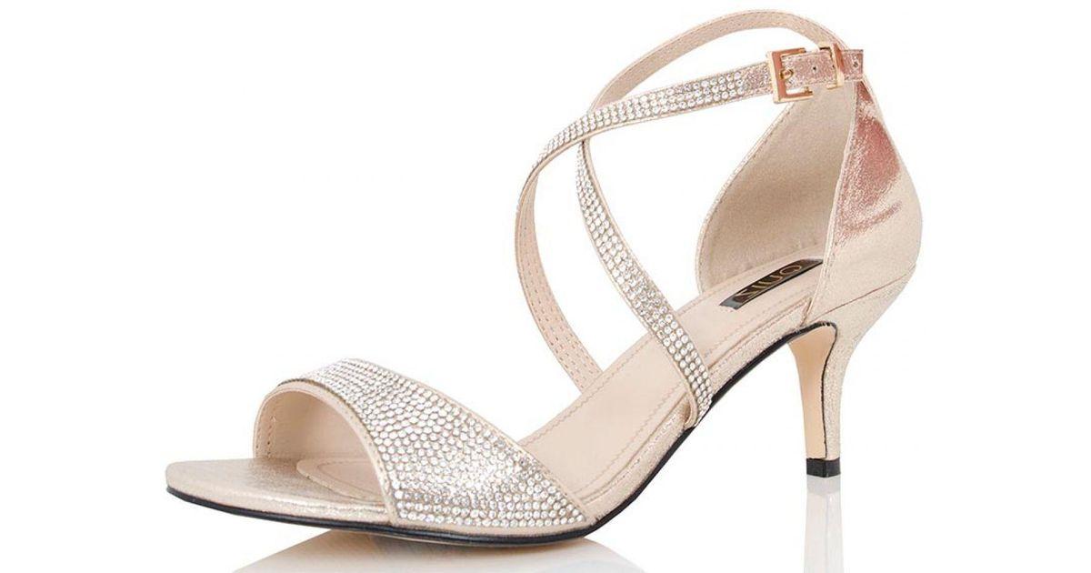 78ef9972279 Quiz Gold Shimmer Diamante Low Heel Sandals in Metallic - Lyst