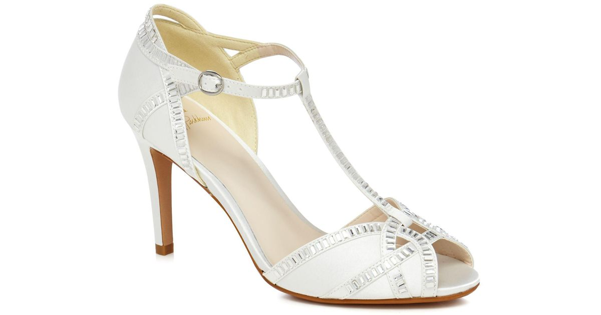 40c77c53f8f Jenny Packham Ivory  pasha  High Stiletto Heel Ankle Strap Sandals in White  - Lyst