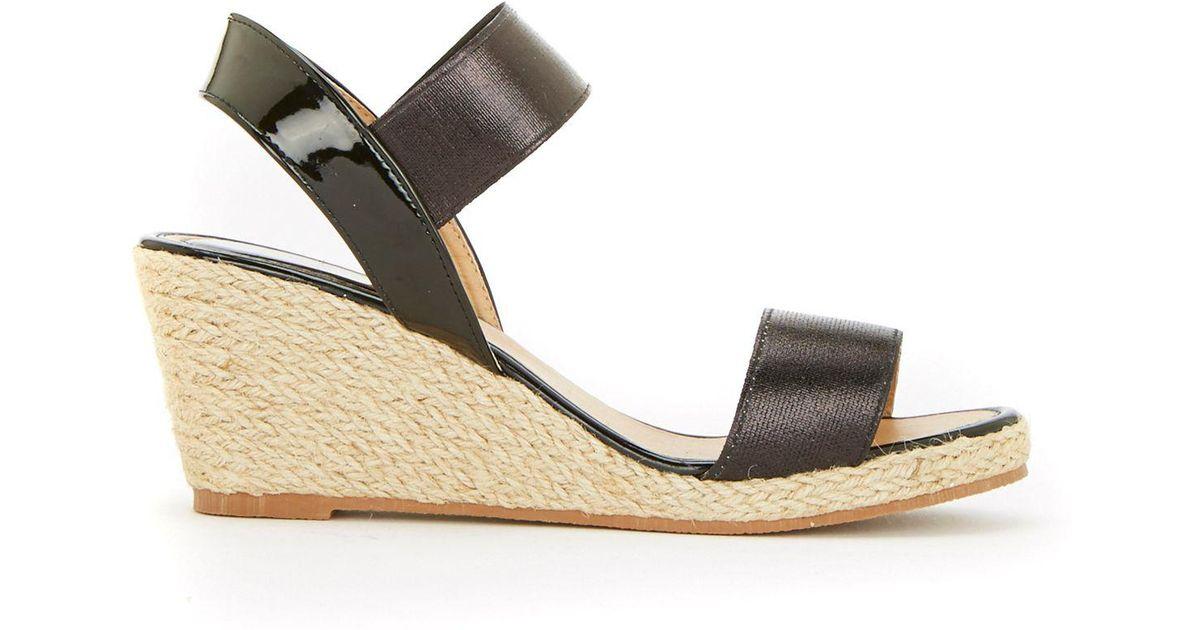 e68d82670 Wallis Black Elastic Strap Raffia Wedge Sandals in Black - Lyst