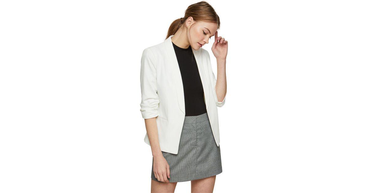 62a49f3f19860 Miss Selfridge Ivory Ruched Sleeve Ponte Blazer in White - Lyst