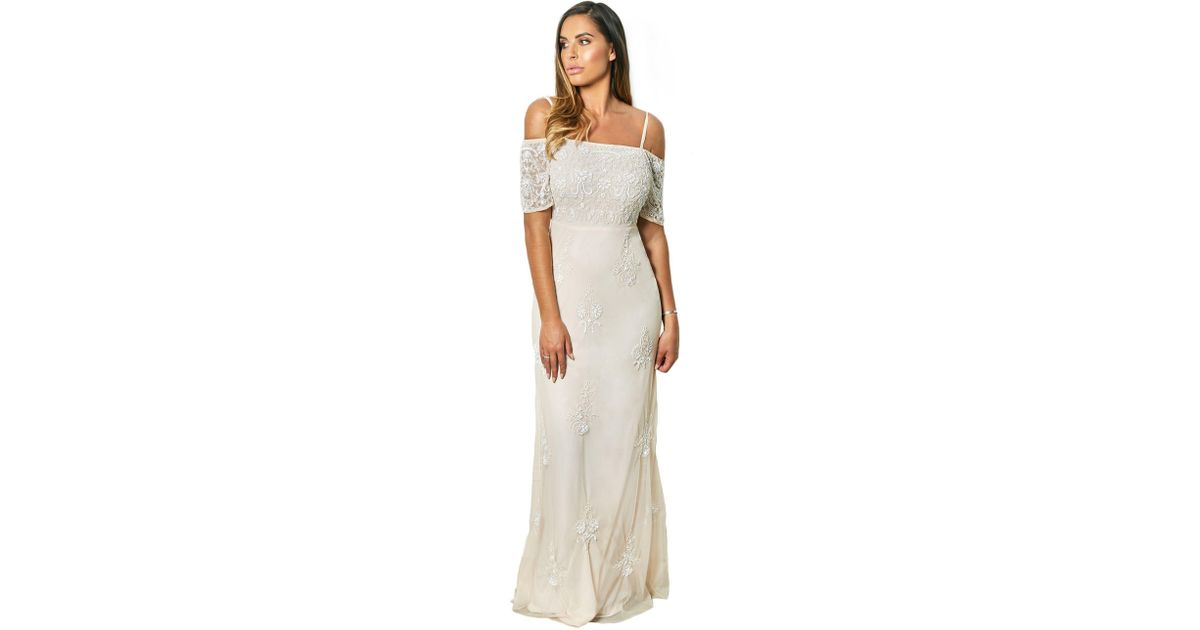 43f727179caf Lipstick Boutique Nude And Pink  jemmy  Embroidered Blush Maxi Dress in Pink  - Lyst