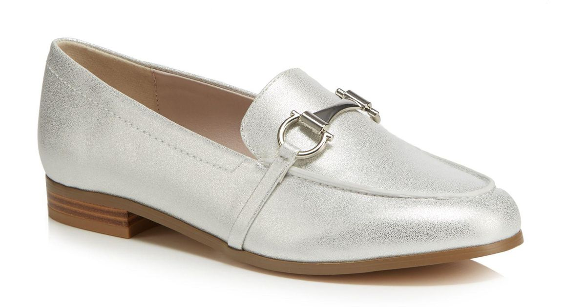 17ebb5e69d5 Faith Silver  agnes  Metallic Wide Fit Loafers in Metallic - Lyst