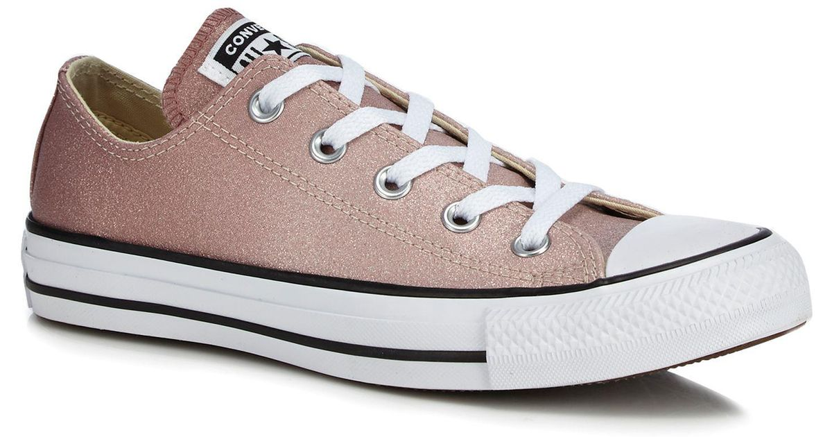 eb10ec4ed988a0 Converse Pink Glitter  all Star Ox  Trainers in Gray - Lyst