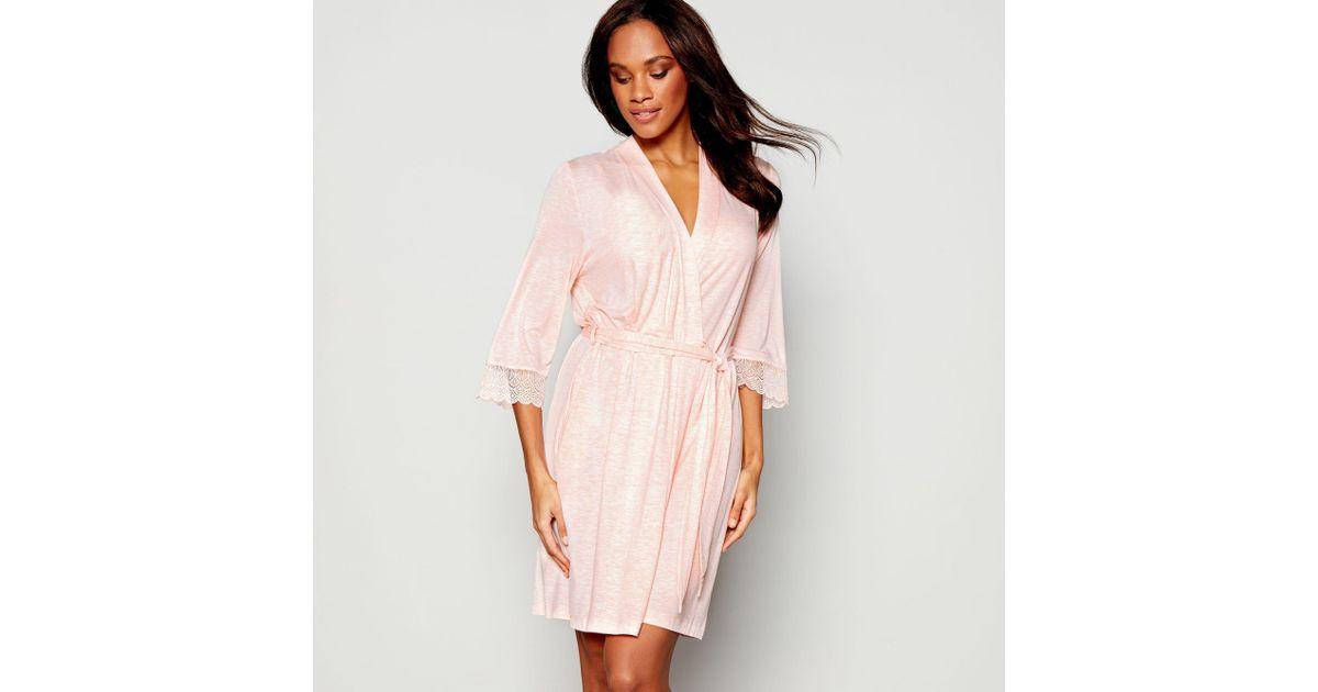 J By Jasper Conran Light Pink Marl Dressing Gown in Pink - Lyst