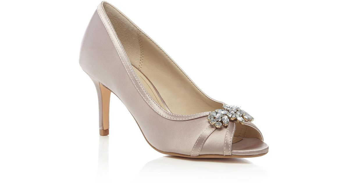 bc648b8a453d Début Light Pink Satin  dara  High Stiletto Heel Peep Toe Shoes in Pink -  Lyst