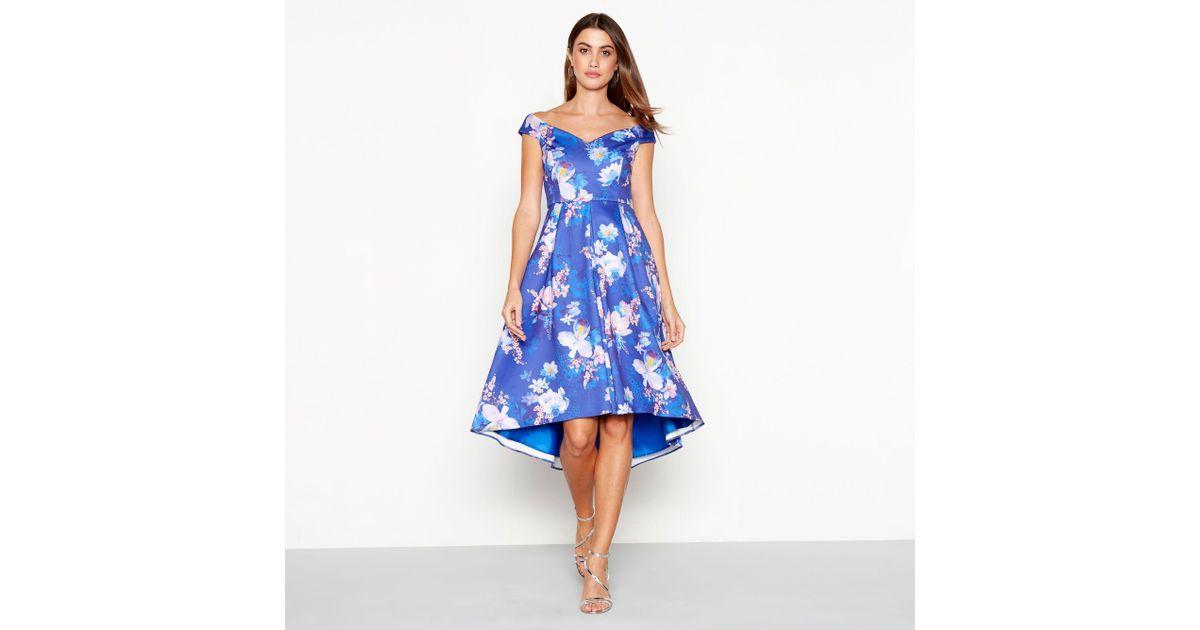 Début Bright Blue Floral Print Scuba V Neck Short Sleeve High Low