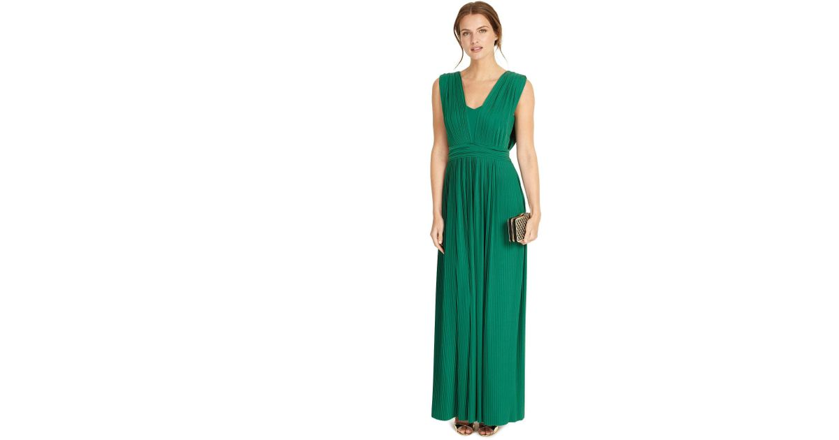 26fd90e3fcf9 Phase Eight Emerald Aldora Pleat Full Length Dress in Green - Lyst
