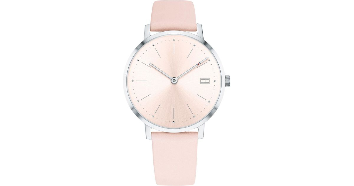 34d1cf02 Tommy Hilfiger Ladies Pink 'pippa' Analogue Leather Strap Watch 1781925 in  Pink - Lyst