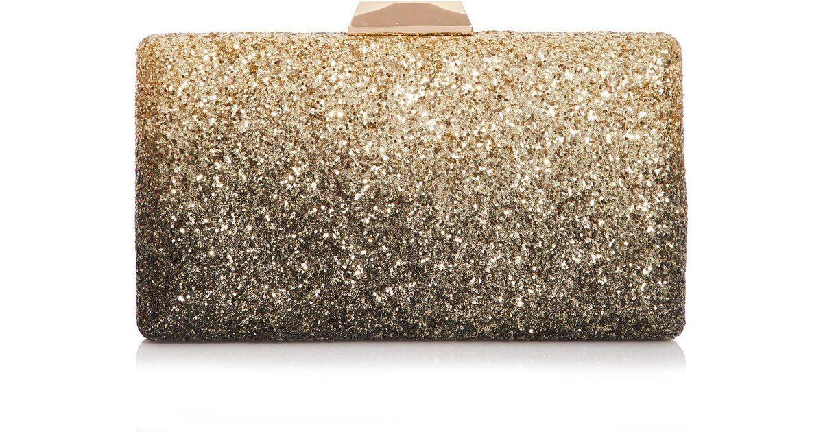 367da718f7f Quiz Gold And Black Ombre Glitter Box Clutch Bag in Metallic - Lyst