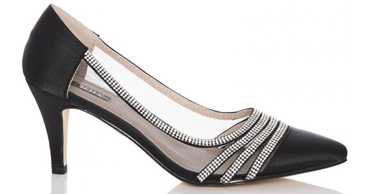 d26c2c6188e Quiz Black Satin Diamante Low Heel Court Shoes in Black - Lyst