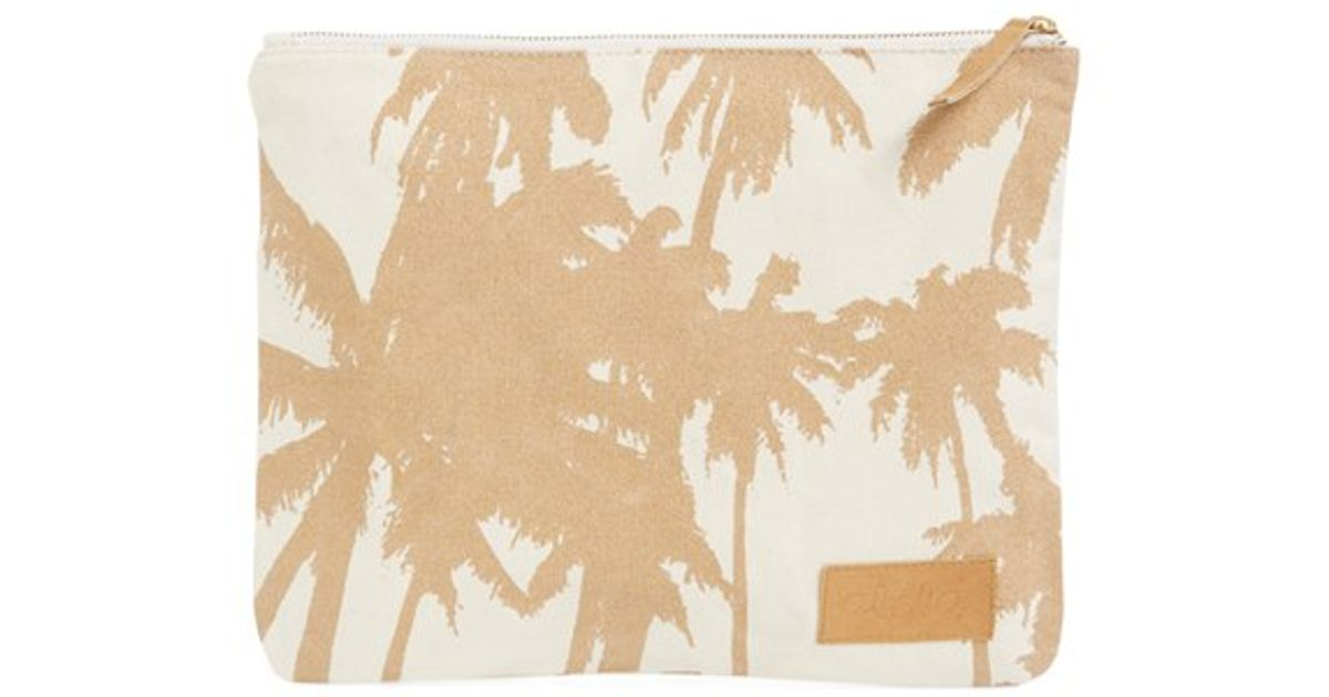 clhoe bags - Alola Palm Print Canvas Clutch in White (NATURAL/ GOLD) | Lyst