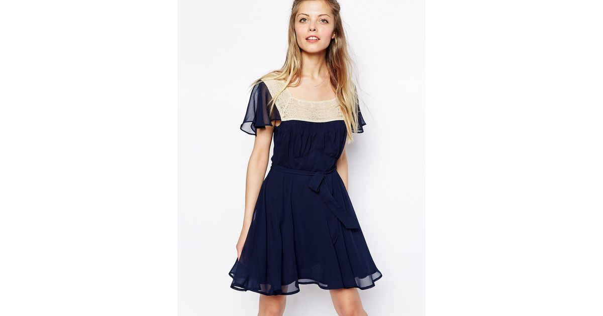 255821a9a67 Lyst - ASOS Skater Dress With Lace Trim Square Neck in Blue