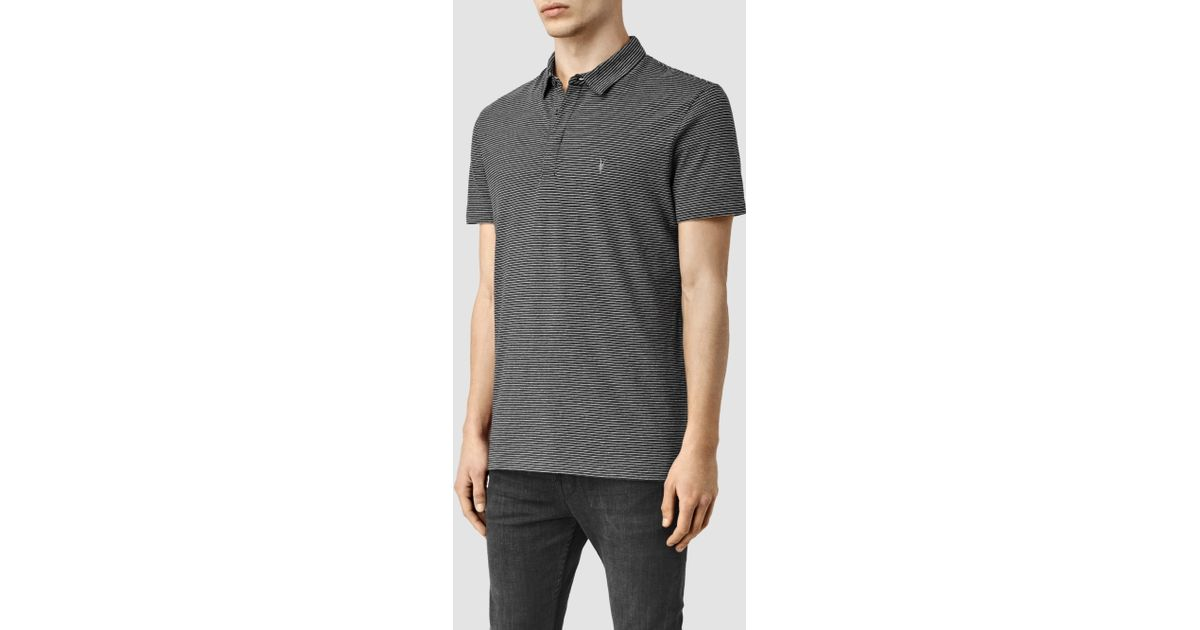 Lyst allsaints anic stripe polo shirt in gray for men for All saints polo shirt