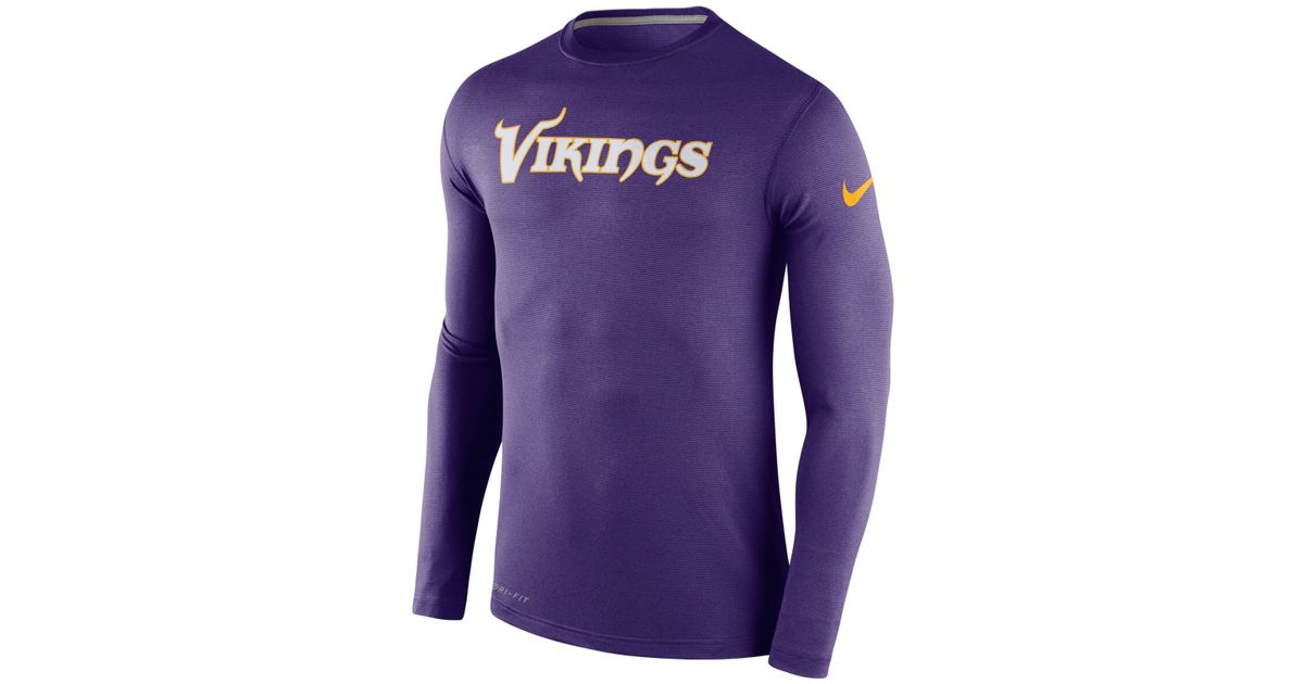 22c7b2c34 Nike Men's Long-sleeve Minnesota Vikings Dri-fit Touch T-shirt in Purple  for Men - Lyst