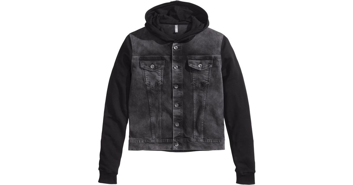 H M Hooded Denim Jacket In Black For Men Lyst