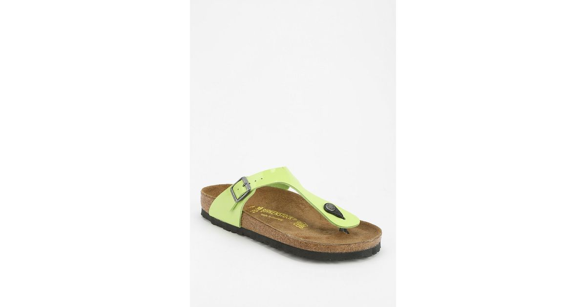 a7d49fae8377 Lyst - Birkenstock Gizeh Patent Thong Sandal in Green