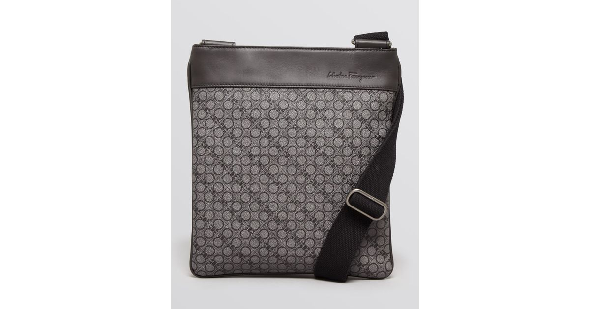 Lyst - Ferragamo Gancio Textured Crossbody Bag in Black for Men f62d88143f4e5