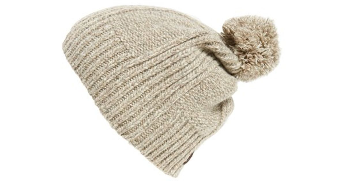 411c59df28b Lyst - UGG  mclain  Ribbed Pompom Beanie in Natural