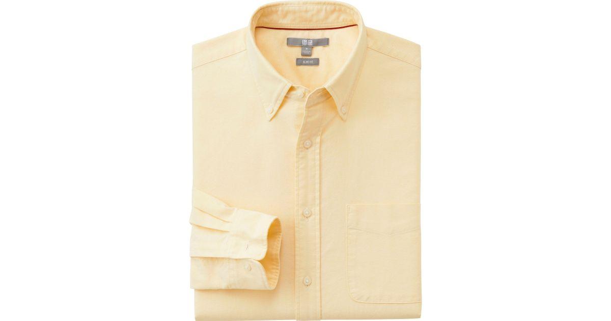 Uniqlo men oxford slim fit long sleeve shirt in yellow for for Men oxford slim fit long sleeve shirt