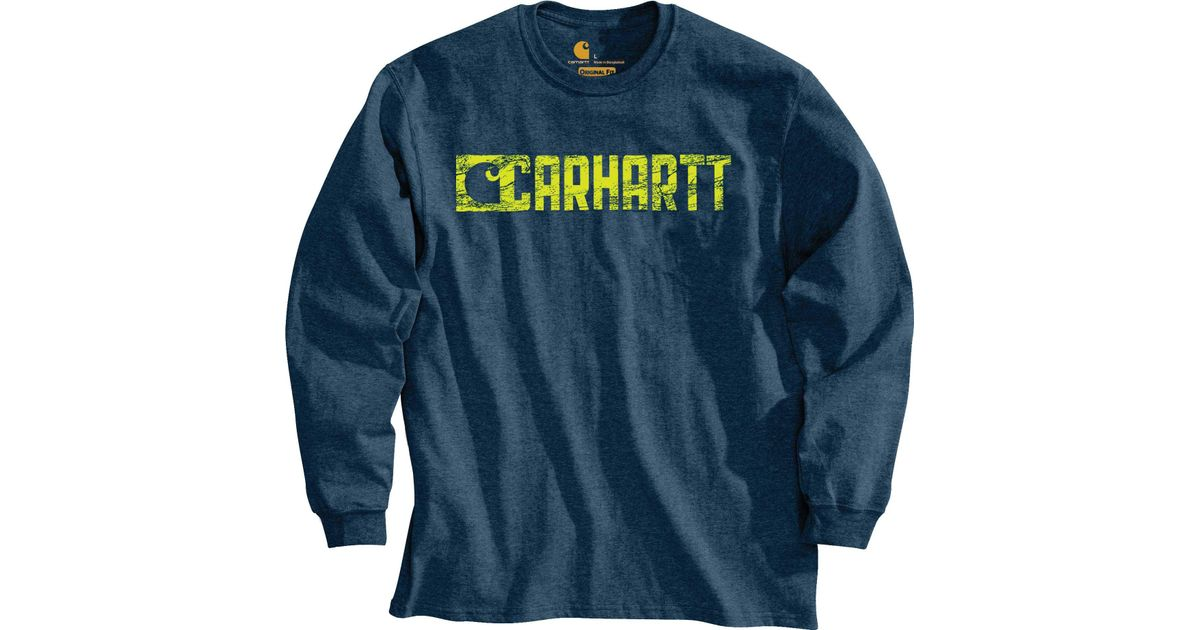 9730ade8 Carhartt Graphic Block Logo Long Sleeve T-shirt in Blue for Men - Lyst