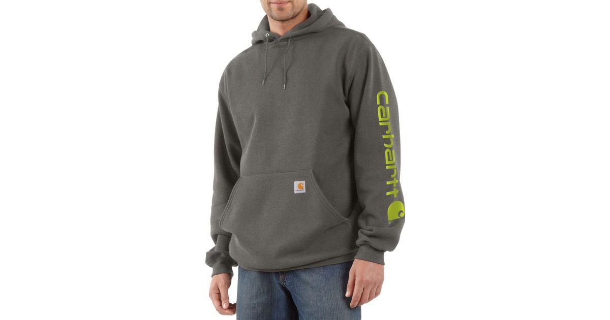 f696b284b9a Carhartt Midweight Hooded Logo Sleeve Sweatshirt in Gray for Men - Save 6%  - Lyst