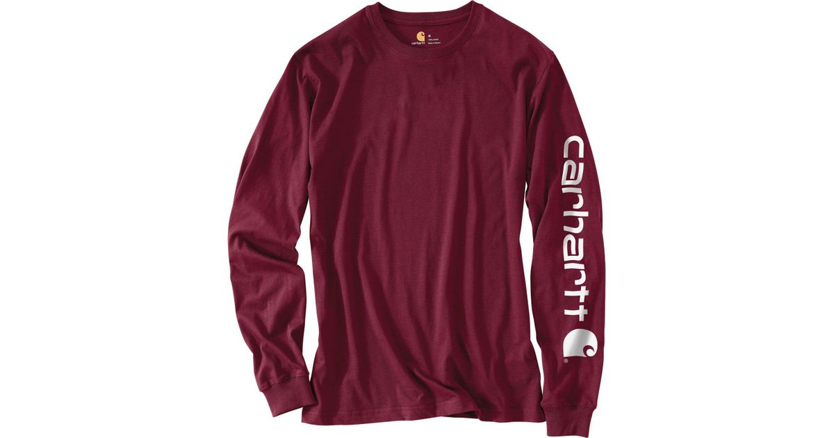 c167a08f6 Carhartt Graphic Logo Long Sleeve Shirt in Red for Men - Lyst