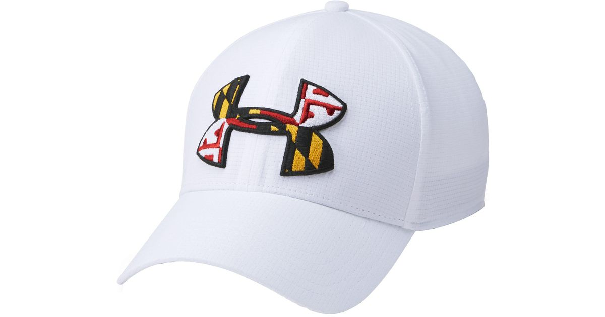 b46e83be3c8 Lyst - Under Armour Maryland Flag Big Logo Low Crown Hat in White for Men