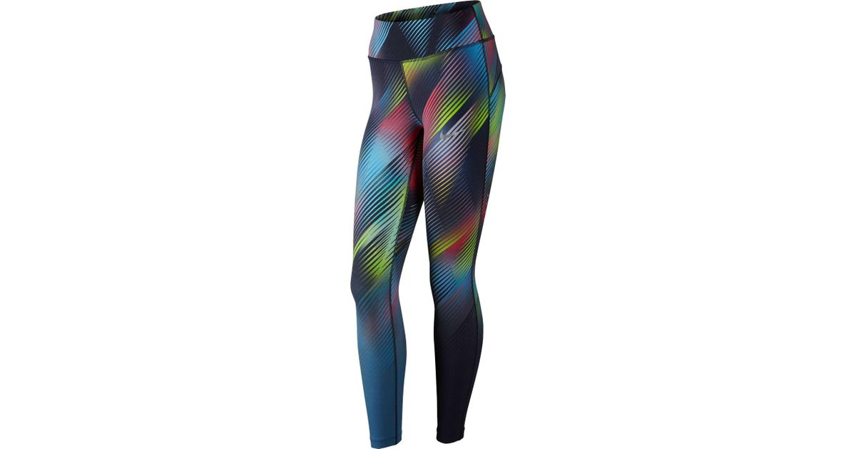 9127e51f6e9 Nike Power Epic Lux Faded Printed Tights in Blue - Lyst