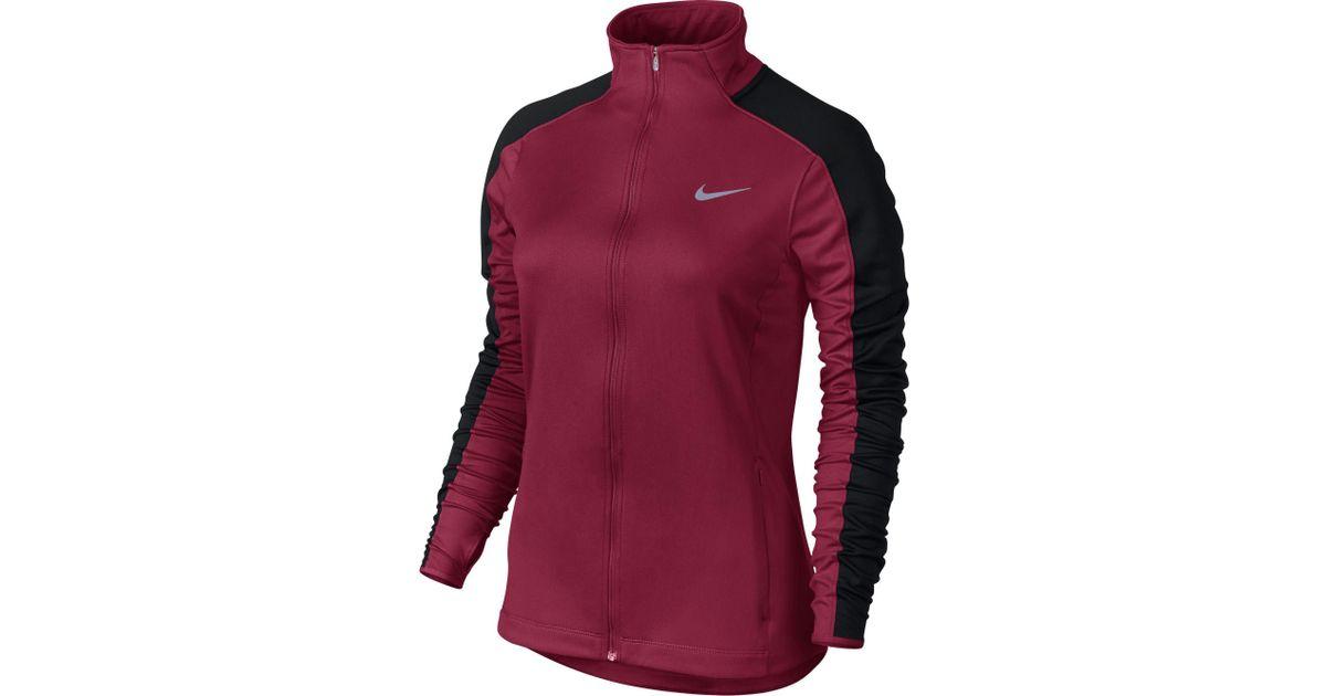 3465fad34 Nike - Red Dri-fit Thermal Full Zip Running Jacket - Lyst