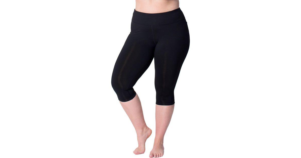1ccc4fcc5 Rainbeau Curves Curves Plus Size Premier Basix Nylon Capris in Black - Lyst