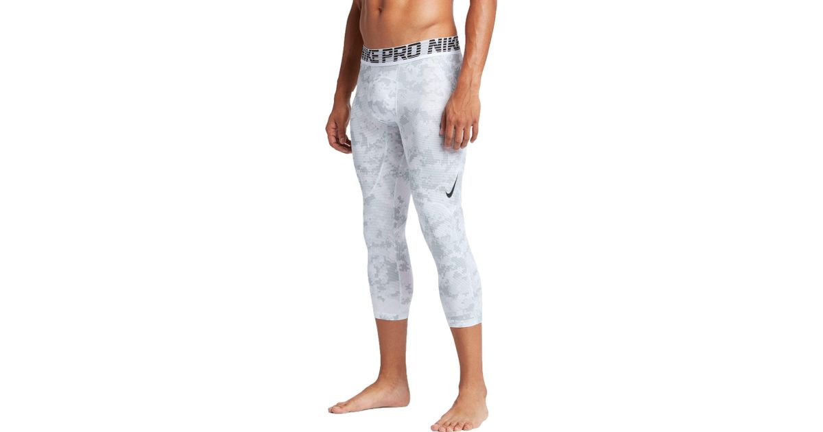 3c502f4e97596 Nike Pro Hypercool 3/4 Length Digi Camo Printed Compression Tights in White  for Men - Lyst