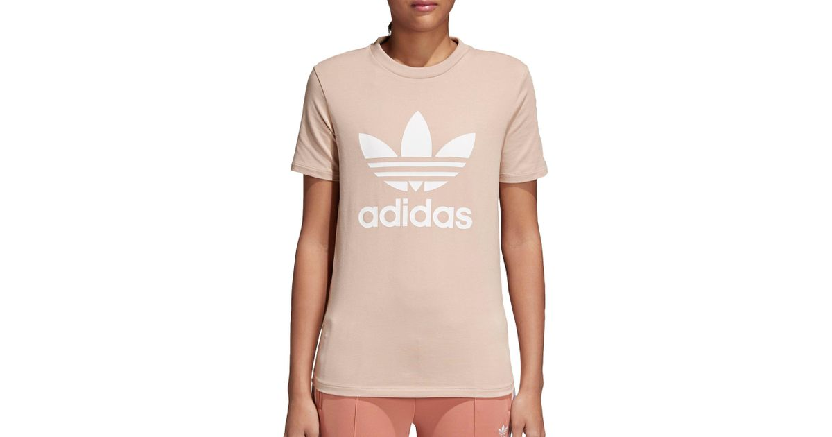 98410bcd1ca Lyst - adidas Originals Adidas Trefoil Tee Dust Pink in Pink - Save 56%