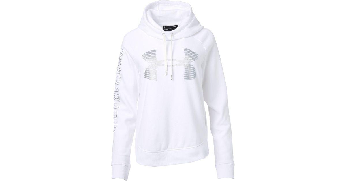 712fca5c Under Armour Favorite Fleece Metallic Stripe Big Logo Hoodie in White - Lyst
