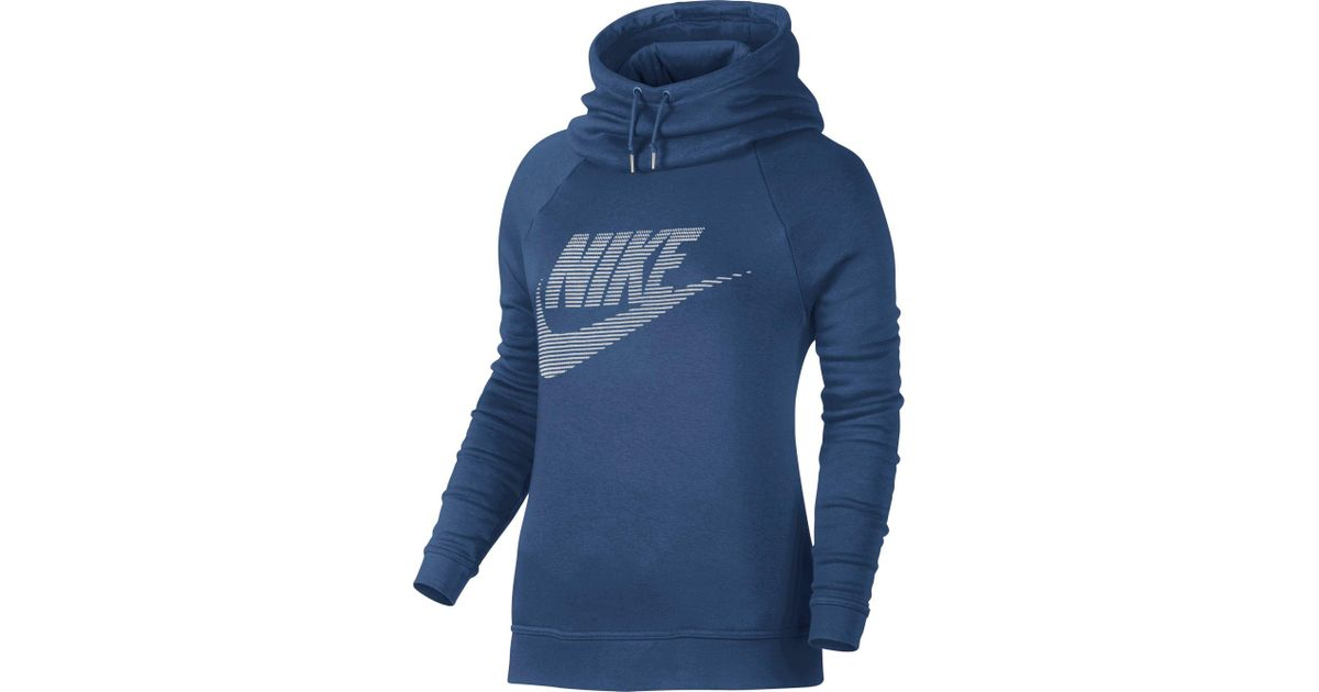 5802ead1a597 Lyst - Nike Sportswear Rally Funnel Neck Graphic Hoodie in Blue