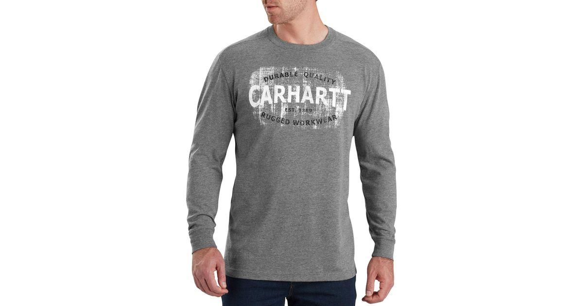 0ab49cca6 Lyst - Carhartt Maddock Rugged Workwear Logo Long Sleeve Shirt in Gray for  Men - Save 27%