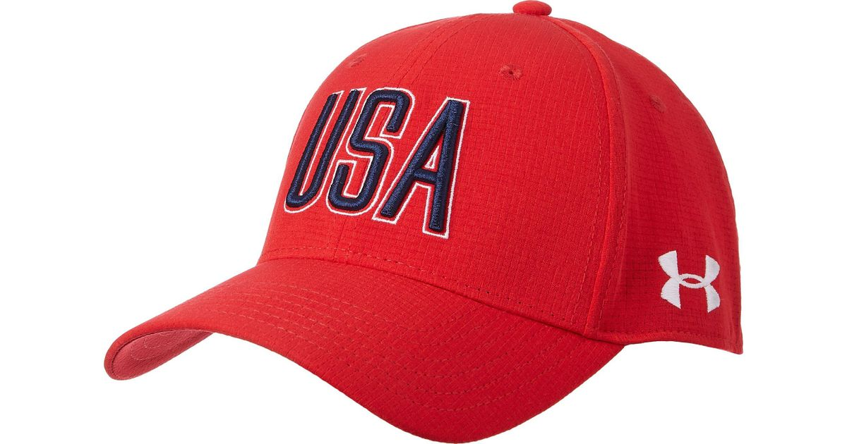 16fec1c8588 Lyst - Under Armour Armourvent Usa Hat in Red for Men