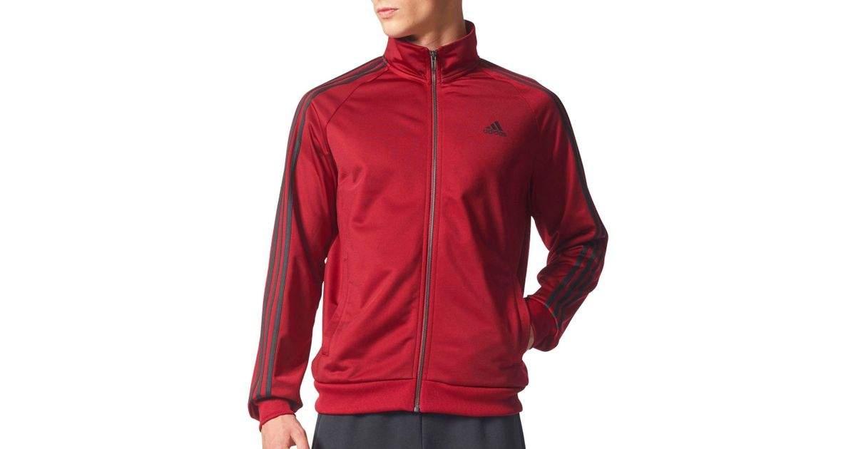 6bc9c3016456 Lyst - adidas Essentials 3-stripes Track Jacket in Red for Men