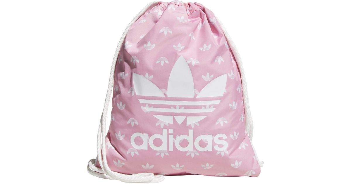 Lyst - adidas Originals Trefoil Sackpack in Pink 99bd816cdf0a6