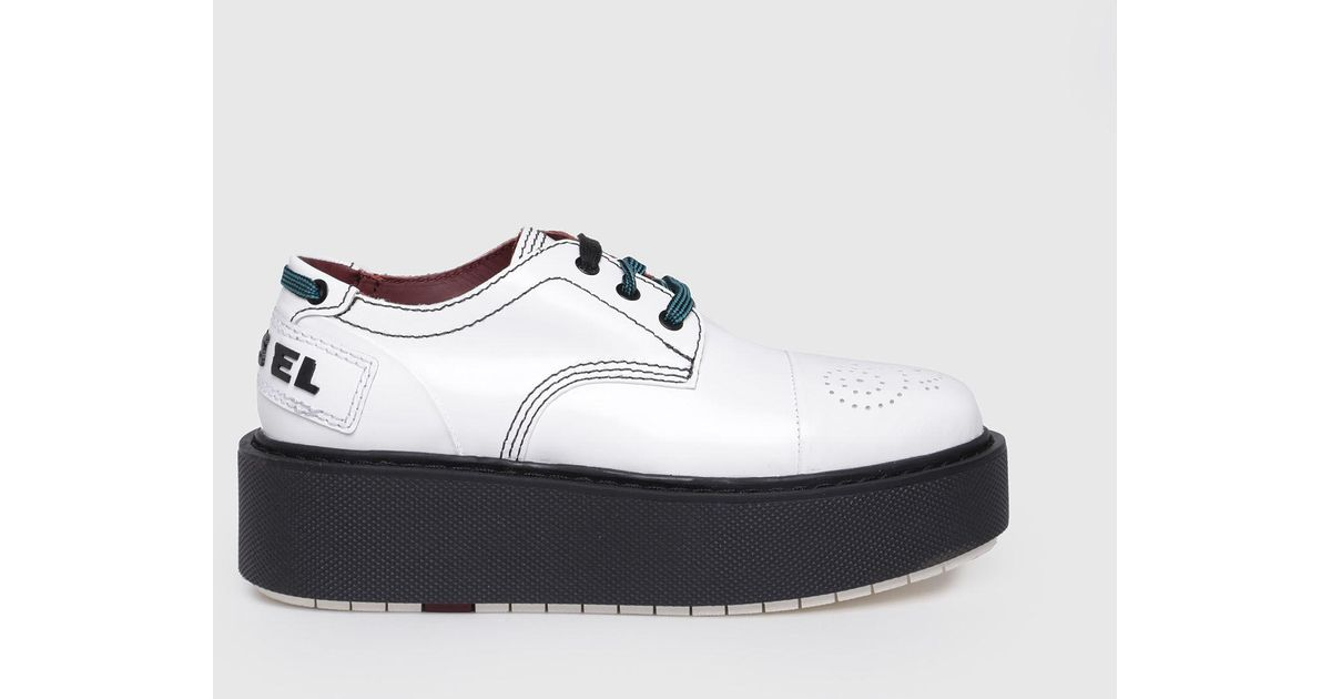 98afe2bb7d1 DIESEL Platform Shoes In Shiny Leather in White - Lyst