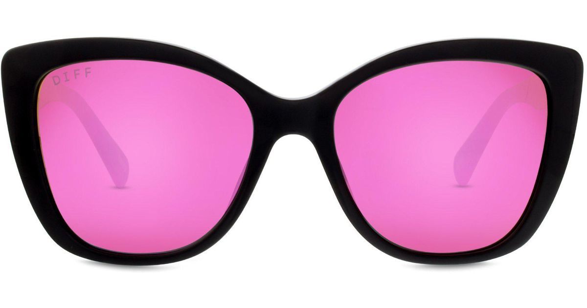 3ce6f474a2 Lyst - DIFF Ruby - Black + Pink Mirror + Polarized in Pink