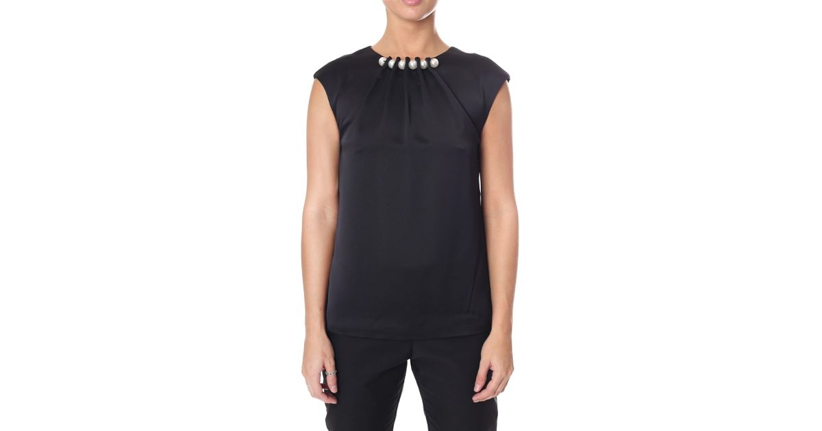 191c59f35f40e Ted Baker Women s Camble Folded Pearl Neck Sleeveless Top Black in Black -  Lyst