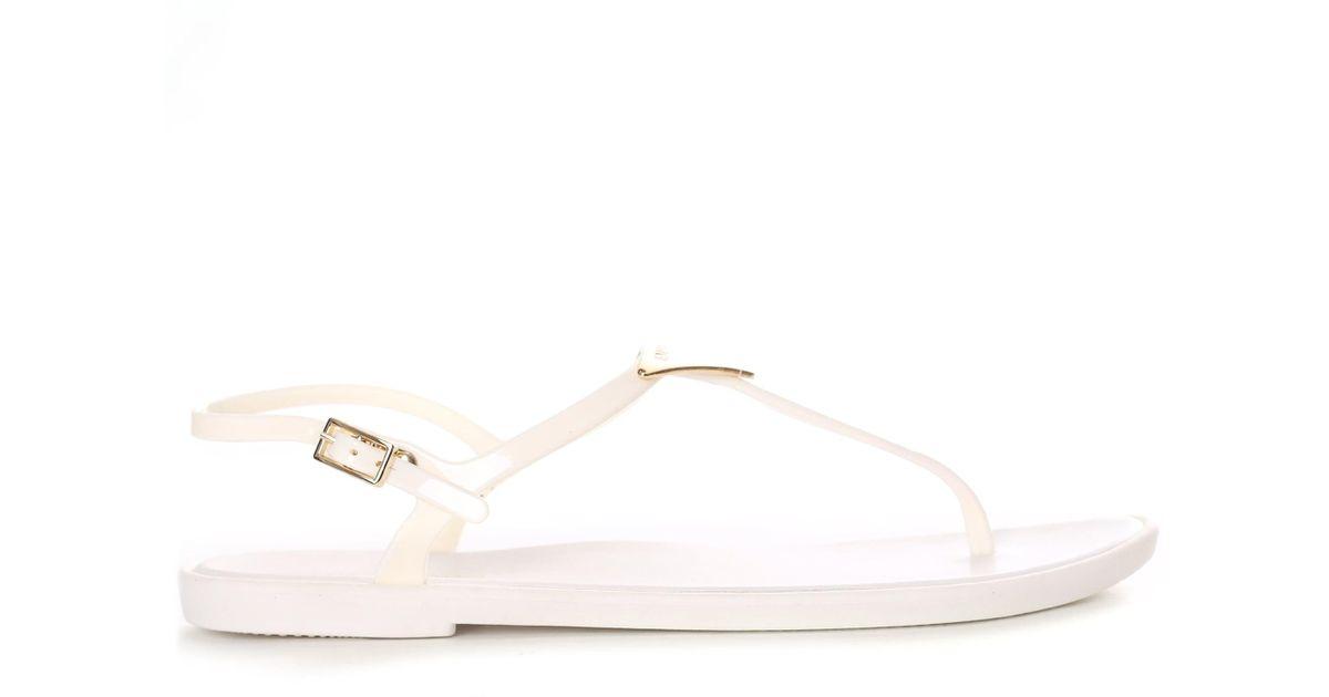 Armani Gold Sandals White Emporio Plaque Jelly In Lyst jLzMVpSqUG