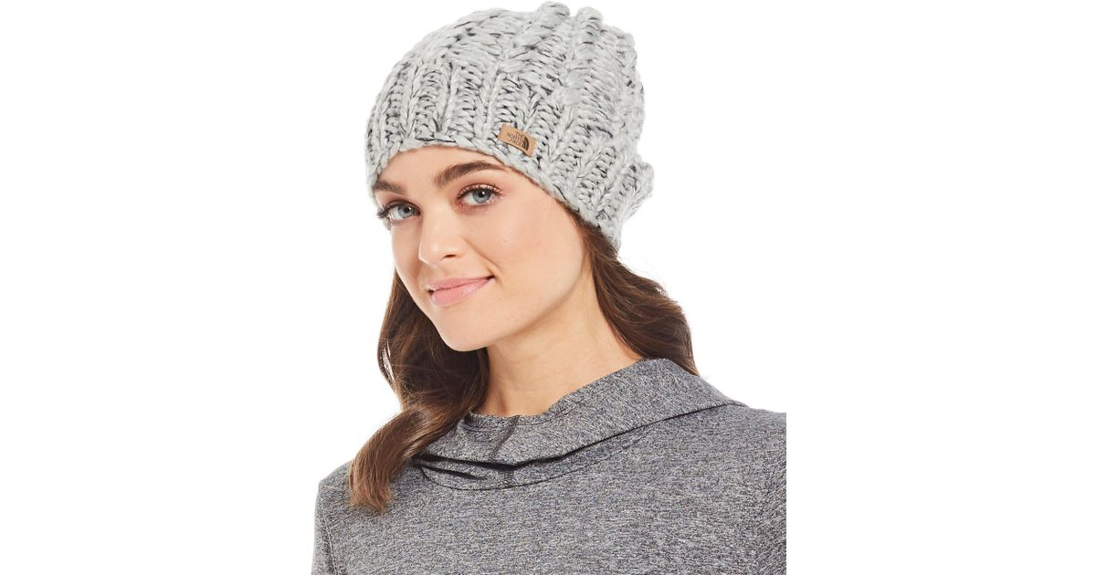 d9a04aa3401eb The North Face Ladies  Chunky Knit Beanie in Gray - Lyst