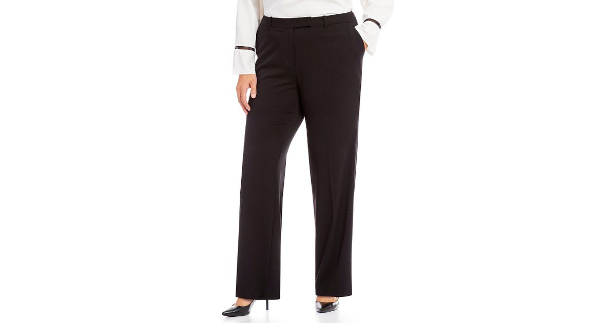 74ae1abf Lyst - Calvin Klein Plus Madison Straight-leg Pants in Black