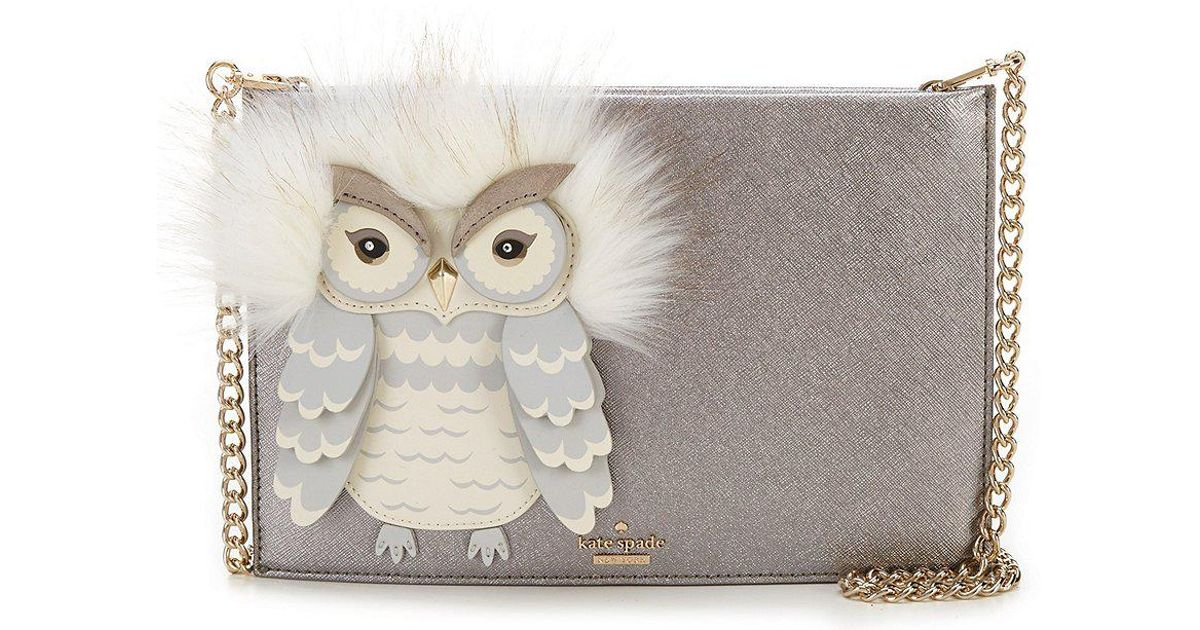 2293309008d80 Lyst - Kate Spade Star Bright Owl Sima Faux-fur-trimmed Cross-body Bag