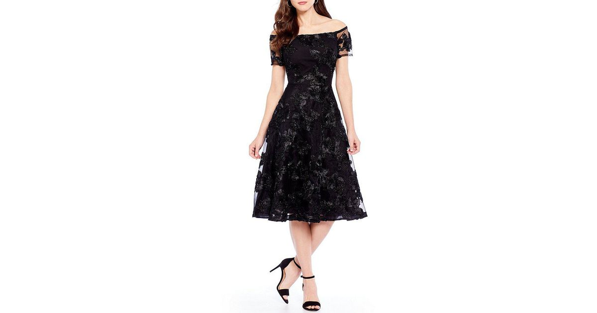 f8ae5baf48f Antonio Melani Hari Embroidered Fit And Flare Dress in Black - Lyst